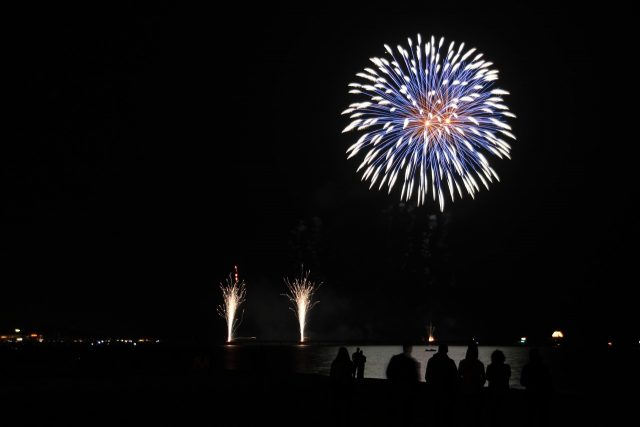 baltic sea with fireworks