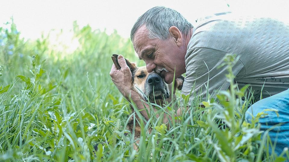 дворник Василий с собакой