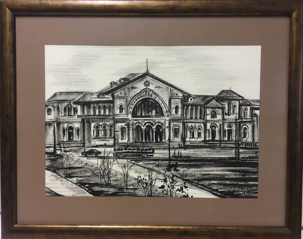 """Графика: """"Новый железнодорожный вокзал, 1960 год"""", Мария Скляренко"""