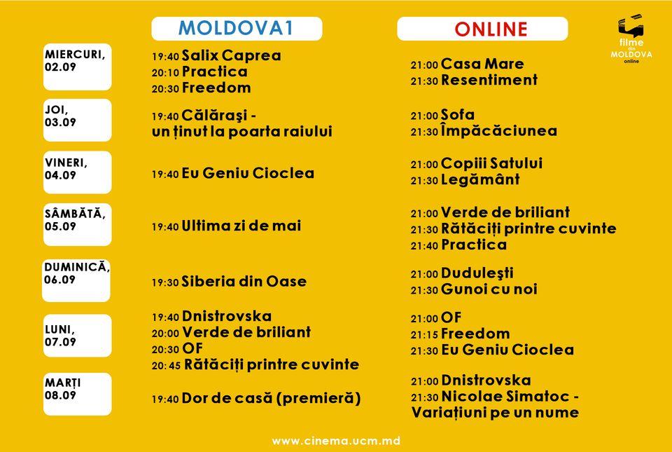 Молдавский проект Filme din Moldova online, организованный Союзом кинематографистов, планирует показ 22 фильмов