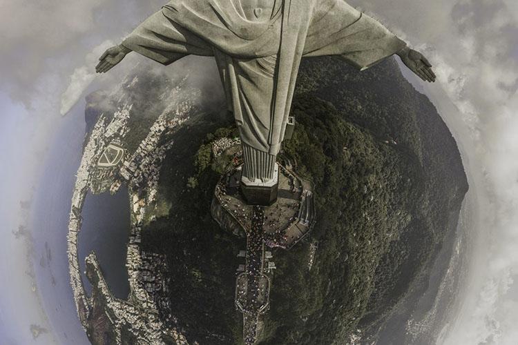 статуя Христа Искупителя, Рио-де-Жанейро, Бразилия, фото с дрона