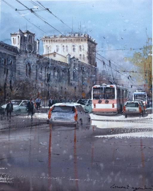 Городские кишиневские пейзажи в акварелях Евгения Кисничан - 4
